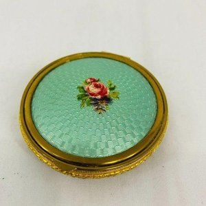 Vintage Guilloche Nosegay Flowers Rose Gold Mirror